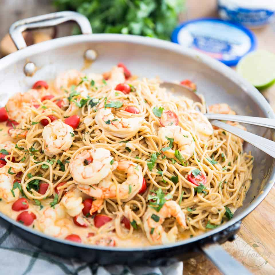 Creamy Goat Cheese Shrimp Pasta • The Healthy Foodie