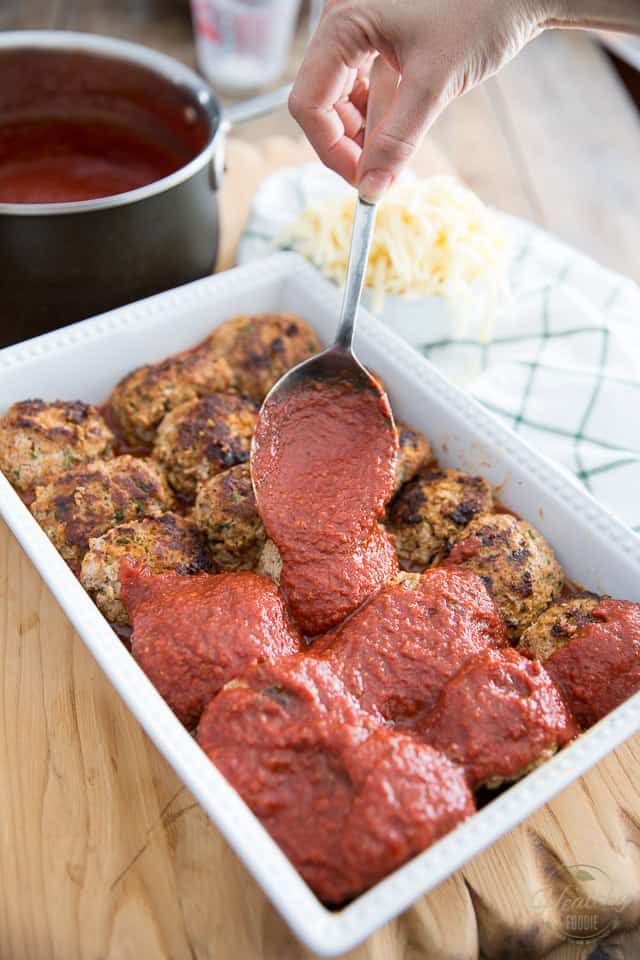 Spicy Baked Italian Meatballs in Marinara Sauce by Sonia! The Healthy Foodie | Recipe on thehealthyfoodie.com