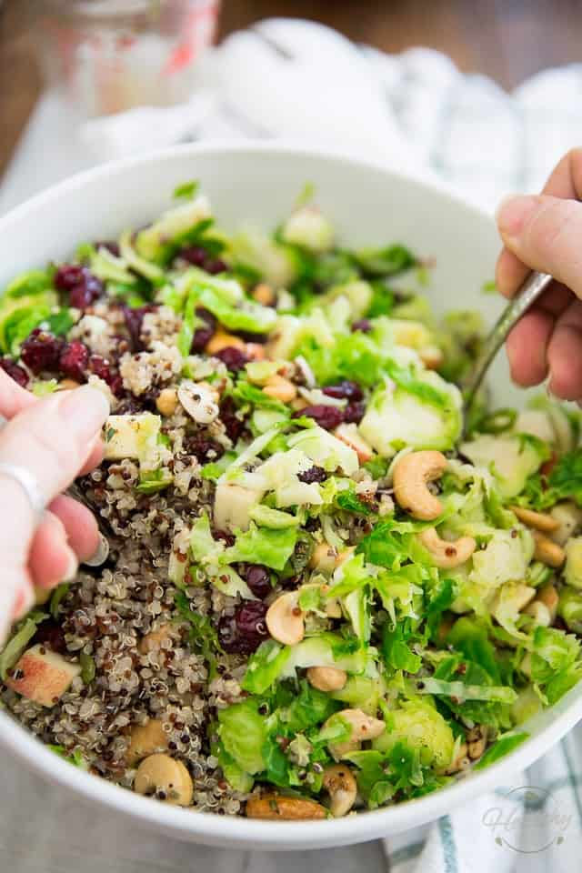 Apple Cranberry Cashew Shaved Brussels Sprouts Quinoa Salad by Sonia! The Healthy Foodie | Recipe on thehealthyfoodie.com