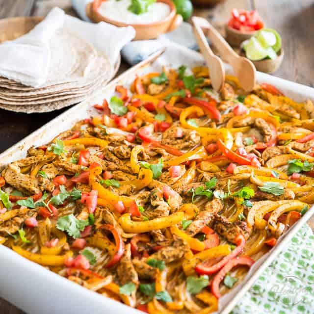 Sheet Pan Chicken Fajitas • The Healthy Foodie
