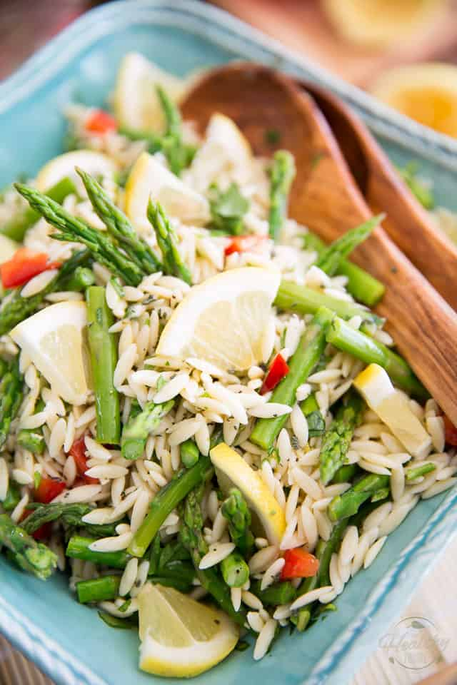 Super refreshing yet incredibly sturdy, this Lemony Asparagus Orzo Salad is perfect for a light summer lunch and will be a favorite on your next family picnic or BBQ!