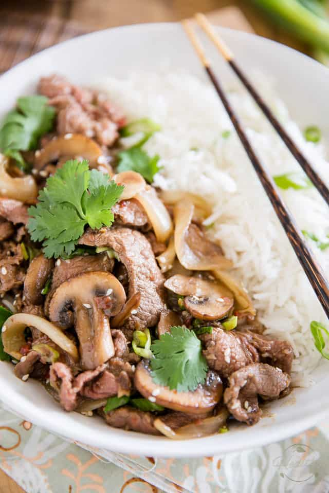 Korean Style Beef with Mushrooms and Onions by Sonia