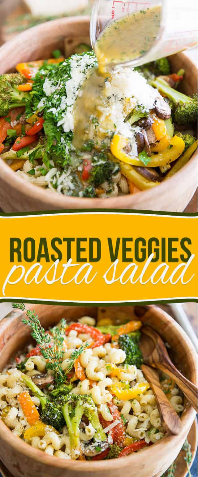 A sturdy pasta salad that's loaded with tons of vegetables and FLAVOR, this Roasted Veggies Pasta Salad will last you for days and keep you full for hours!