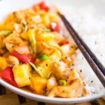 Quick and easy to make, good for you and better than take out. There's nothing not to like about this Pineapple Chicken!
