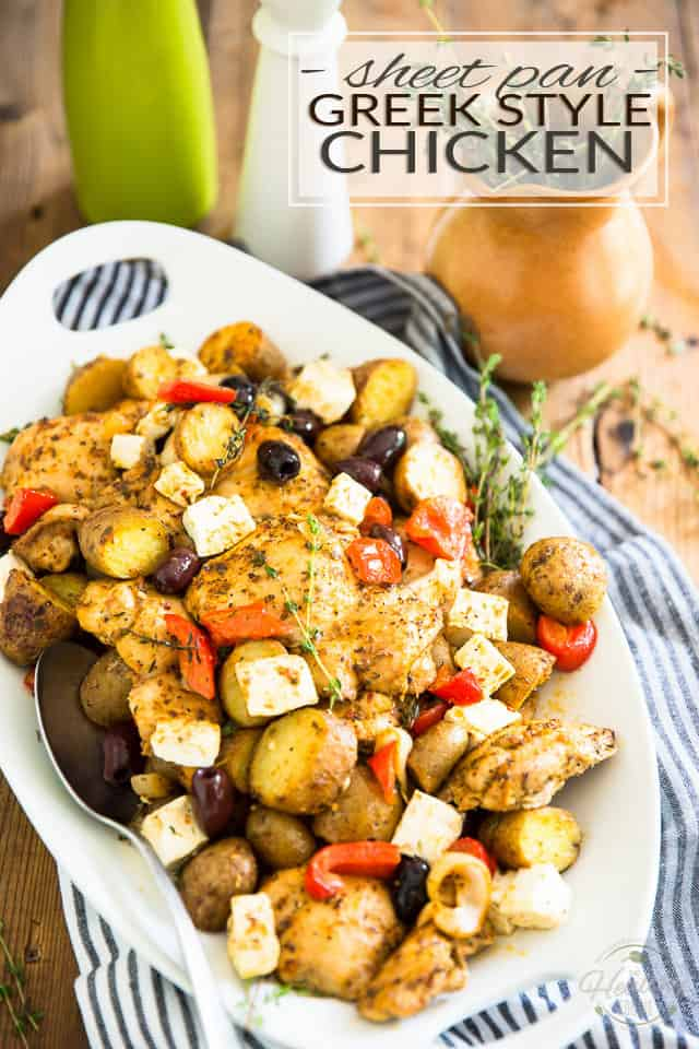 Sheet Pan Greek Style Chicken - Juicy pieces of chicken, roasted potatoes, olives, feta cheese, bell peppers and onions baked together in a single pan