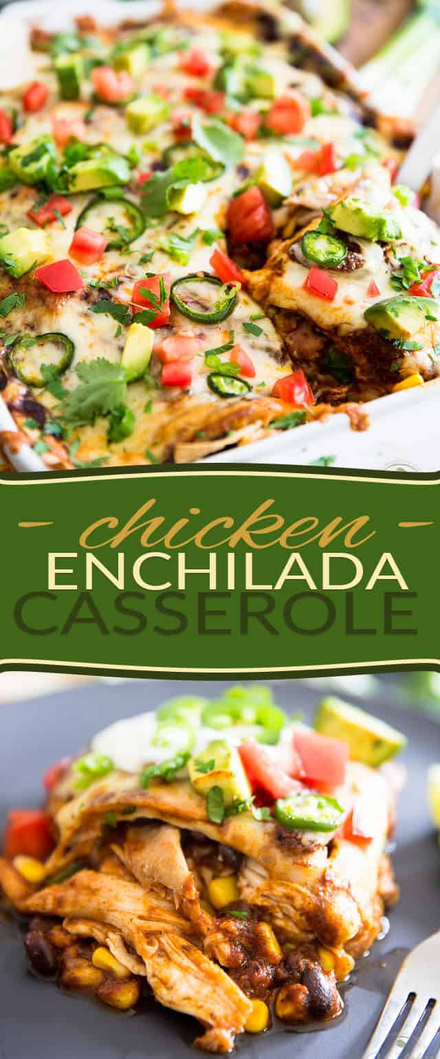 Chicken, corn, black beans, cheese and flour tortillas in a spicy enchilada sauce, healthy has never felt so indulgent as this Chicken Enchilada Casserole.