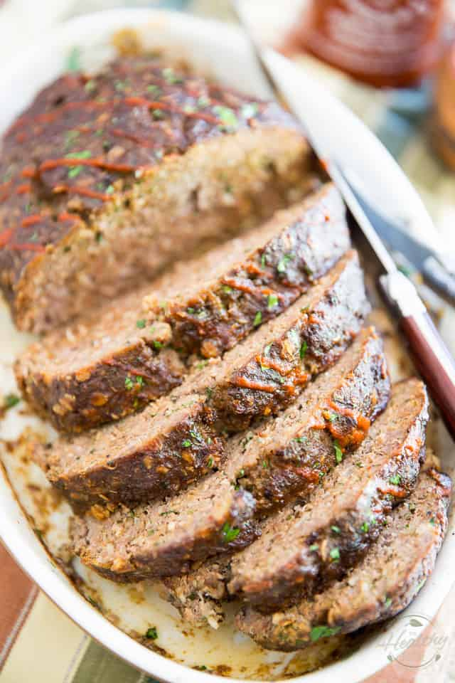 Deliciously brown and crispy on the exterior, moist and juicy on the interior, this stupid easy no-pan meatloaf will have you want to throw away your loaf pans!