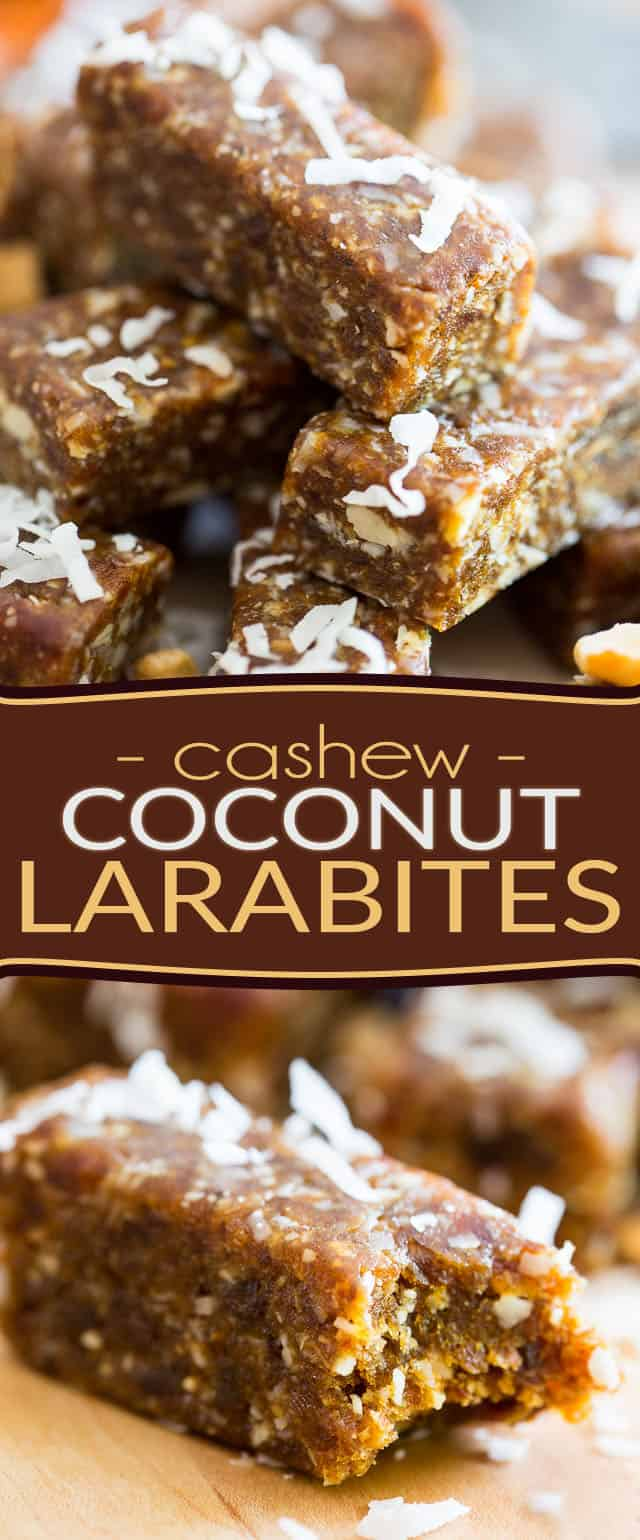 These cute Cashew Coconut Larabites are just like Larabars, except they'll only cost you a fraction of the price! And they're super easy to make, too!
