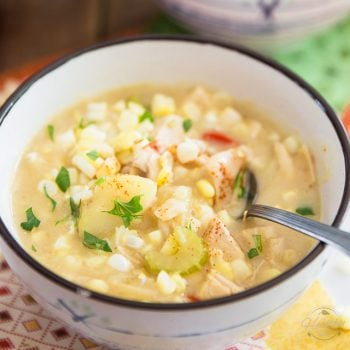 Corn is in season! If you're looking for ways to use it up, look no further than this super filling, hearty and wholesome Fresh Corn and Chicken Chowder.