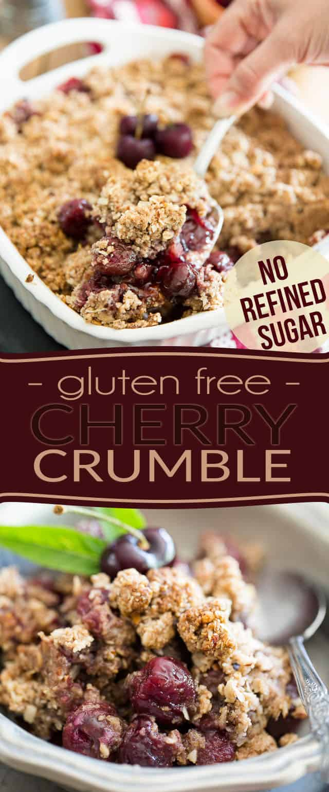 Not only is this Sweet Cherry Crumble gluten free but it also contains no refined sugar. Talk about a guilt free way to treat yourself to some yummy dessert