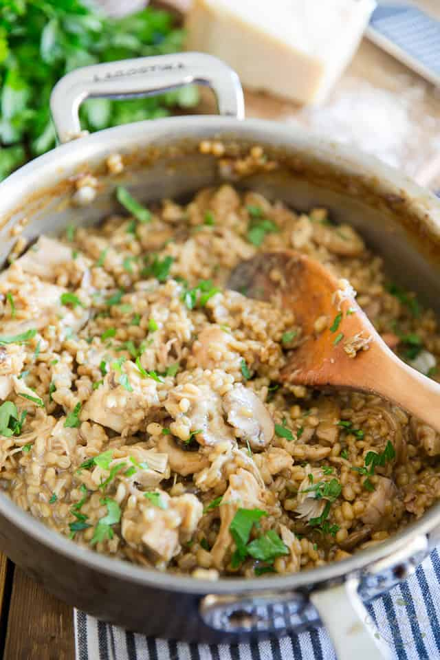 Creamy Chicken Mushroom Barley Risotto by Sonia The Healthy Foodie   Recipe on thehealthyfoodie.com