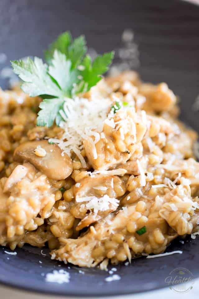 If you are a fan of traditional risotto, then you will fall head over heels for thisCreamy Chicken Mushroom Barley Risotto.Try it - you'll never go back!