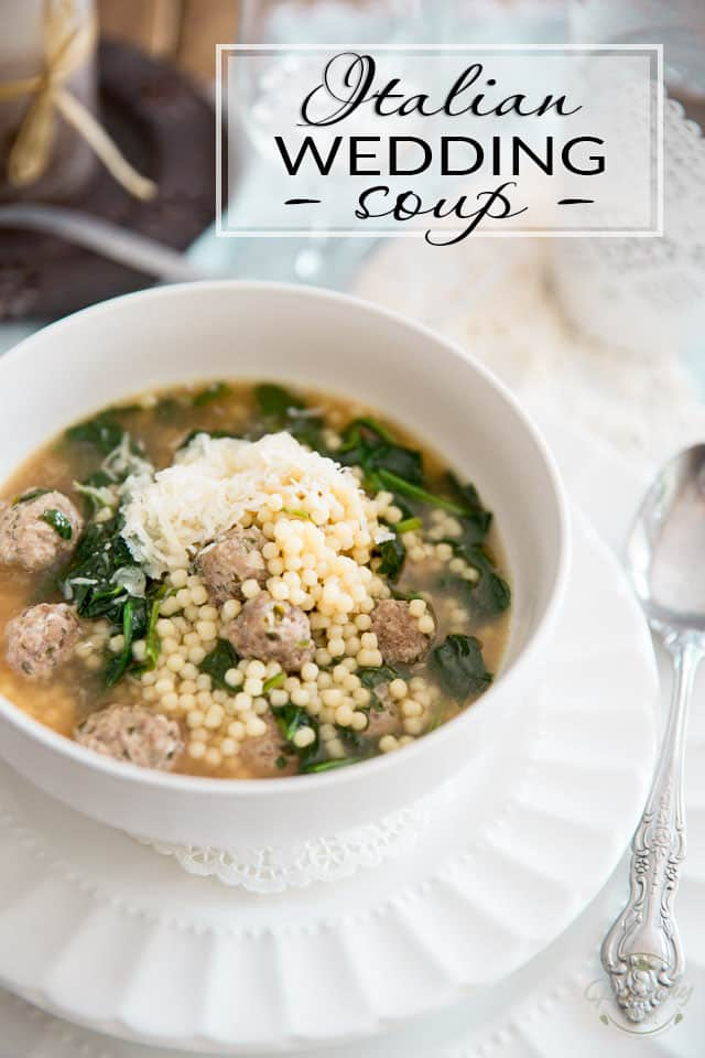 Italian Wedding Soup is a classic soup made with adorable mini meatballs cooked in a tasty broth with a myriad of miniature pasta beads and fresh spinach.