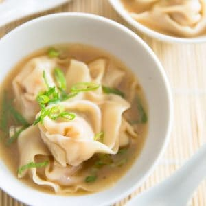 Homemade Wonton Soup by Sonia! The Healthy Foodie | Recipe and tutorial on thehealthyfoodie.com