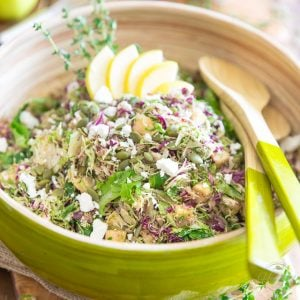 Shaved Brussels Sprouts Salad – with Apples Feta and Dates