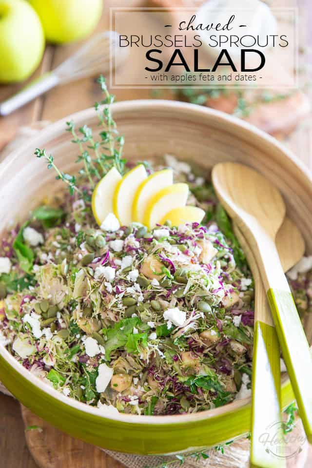 Shaved Brussels Sprouts Salad - with Apples Feta and Dates by Sonia! The Healthy Foodie   Recipe on thehealthyfoodie.com