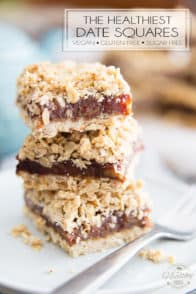 Free of gluten and added sugar, these Vegan Date Squares are just as good, if not better, than the real thing! Super moist and deliciously tasty, they're the perfect replica of your typical soft, sweet and crunchy date square.