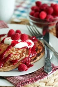 Raspberry Oatmeal Protein Pancakes | by Sonia! The Healthy Foodie