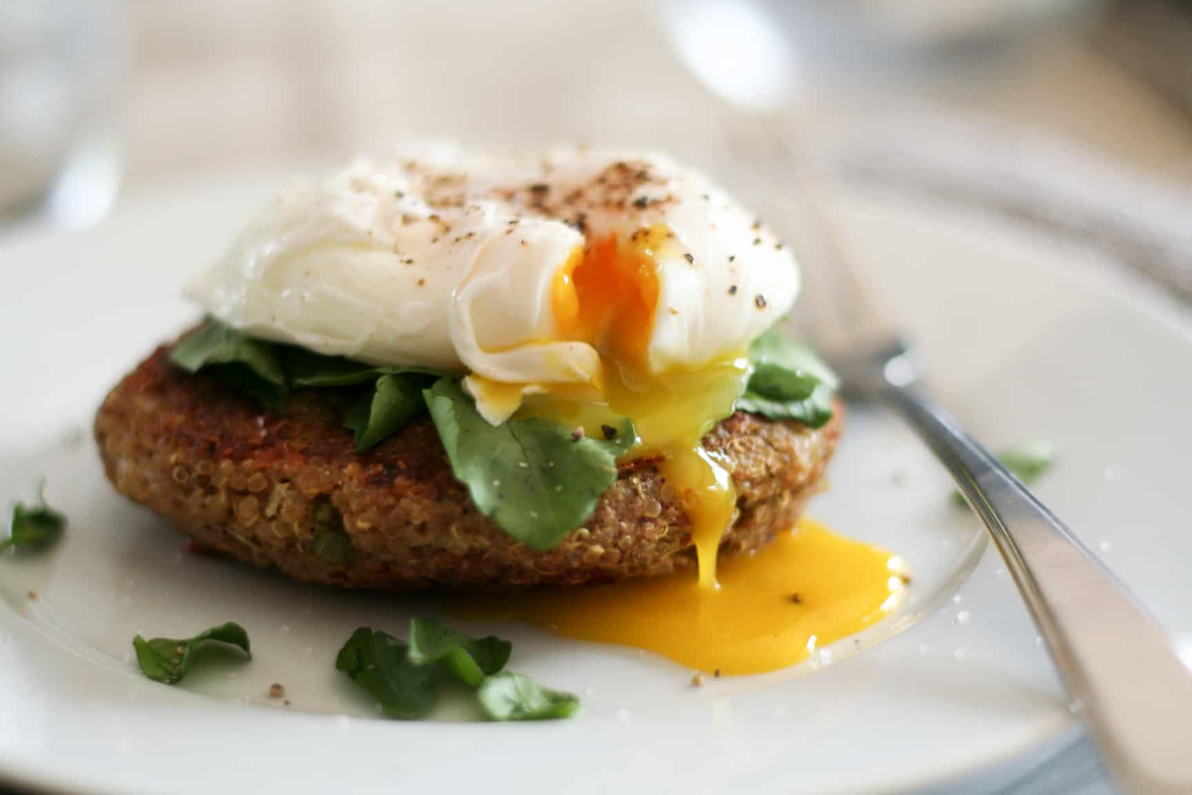 Quinoa Cakes and Poached Egg