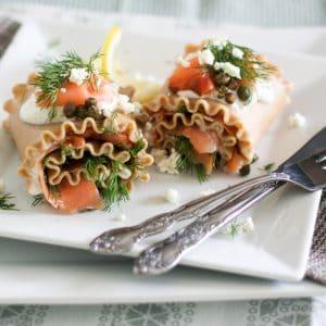 Smoked Salmon Lasagna Rolls