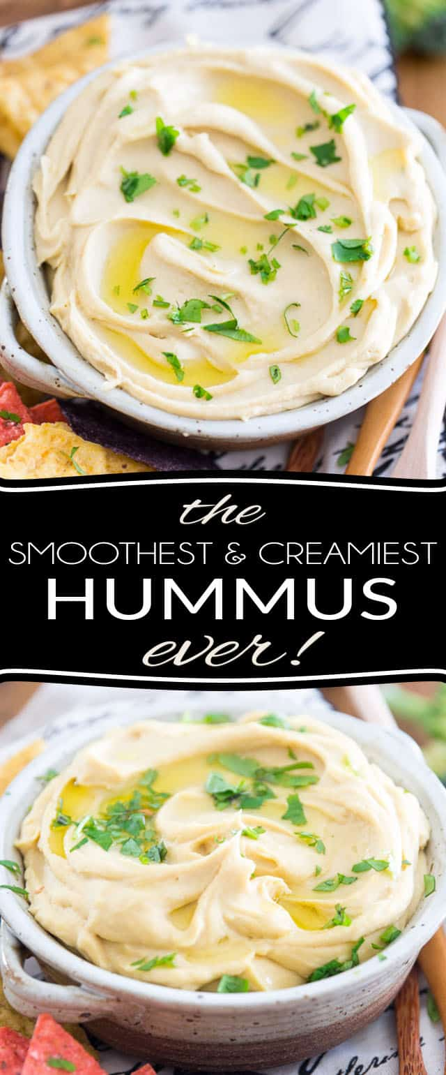 Learn the very simple trick to making the Smoothest and Creamiest Hummus ever. Hummus so good, you'll simply want to eat it by the spoonful!