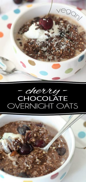 Breakfast that tastes just like dessert but that's as nutritious as can be? That's exactly what you get in a bowl of these Cherry & Chocolate Overnight Oats!