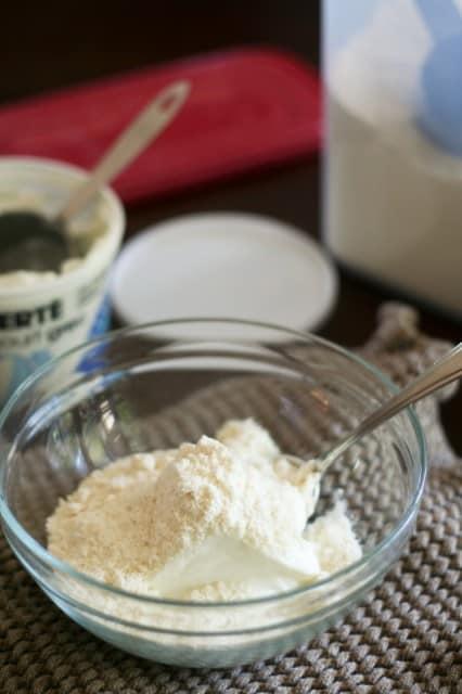 Whey Protein Powder and Plain Yogurt