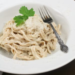 Home Made Spelt Fettucine and Healthy Alfredo Sauce!