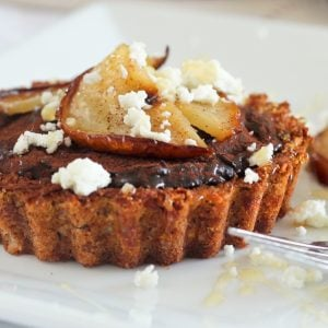 Caramelized Pears, Goat Cheese and Chocolate Tartlets