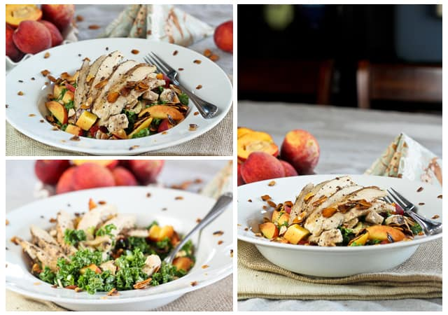 Kale Chicken and Peaches Salad