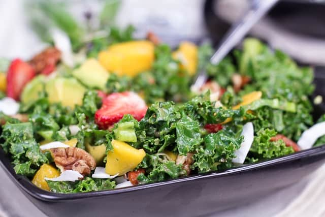 Kale Salad with a Tropical Twist • The Healthy Foodie