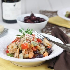 Shrimp and Fava Beans with Tomatoes and Kalamata Olives