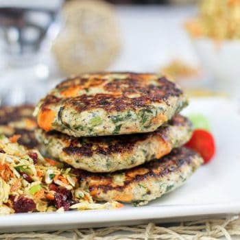 Sweet Potato and Kale Chicken Patties and a Super Healthy Coleslaw