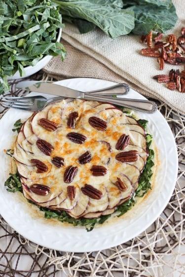 Collards, Apple, Pecan and Gouda Egg White Omelette
