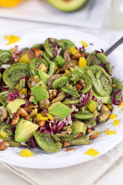 Fiddleheads Olive and Almonds Salad
