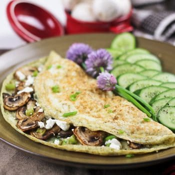 Mushroom, Green Onion and Goat Cheese Egg White Omelet