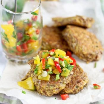 Plantain Fritters with a Spicy Sweet & Sour Peach and Bell Pepper Chutney