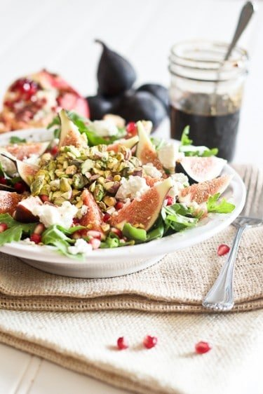 Fresh Fig and Goat Cheese Salad with Pomegranate Agrodolce | by Sonia! The Healthy Foodie