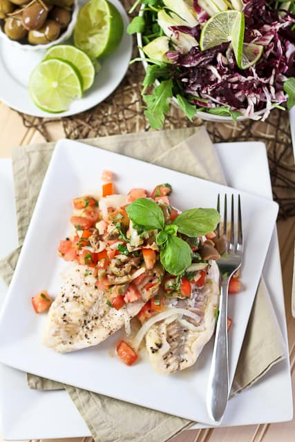 Poached Freshwater Bass with Tomato and Green Olive Salsa | by Sonia! The Healthy Foodie