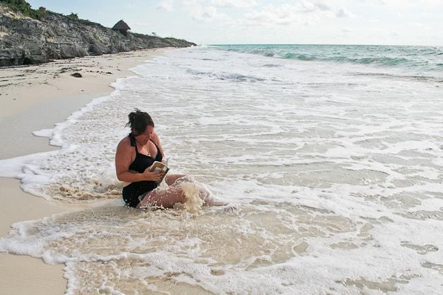 "Tasha with ""Wreck This Journal"" in the Ocean - Cayo Largo | Playa Blanca"