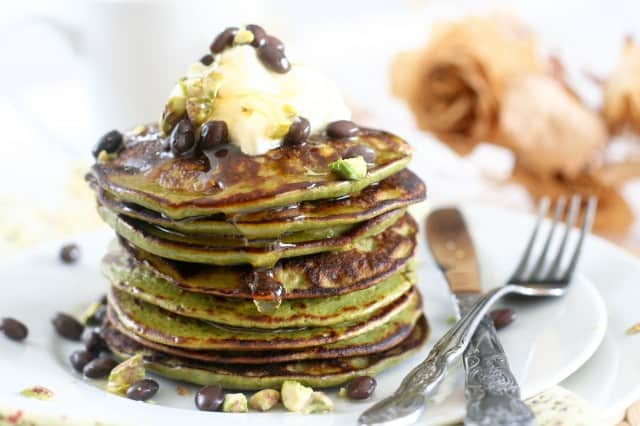 Matcha Green Tea Coconut Pancakes   by Sonia! The Healthy Foodie