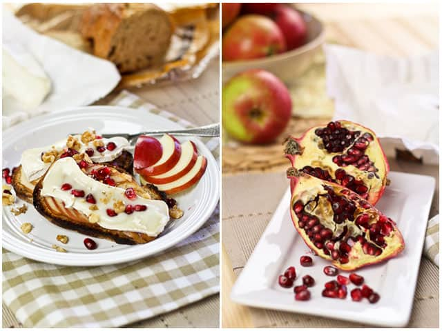 Goat Brie Cheese Apple and Pomegranate Crostinis   by Sonia! The Healthy Foodie