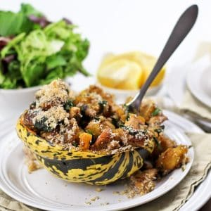 Turkey Stuffed Carnival Squash