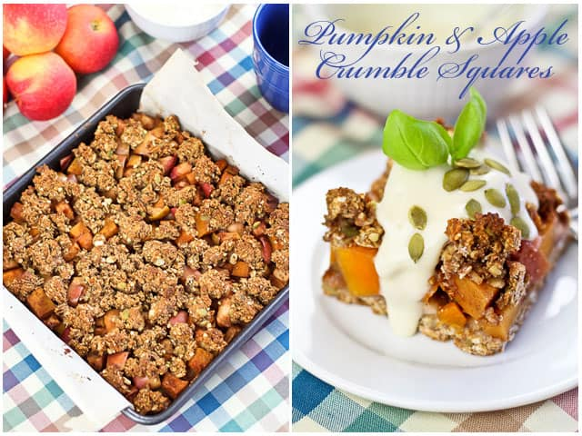 Healthy Spicy Apple Pumpkin Crumble Squares | by Sonia! The Healthy Foodie