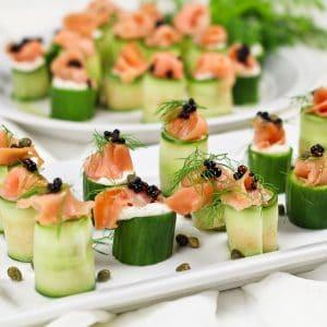 Smoked Salmon and Cream Cheese Cucumber Rolls