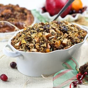 Brown and Wild Rice Turkey Stuffing with Chestnuts and Dried Fruits