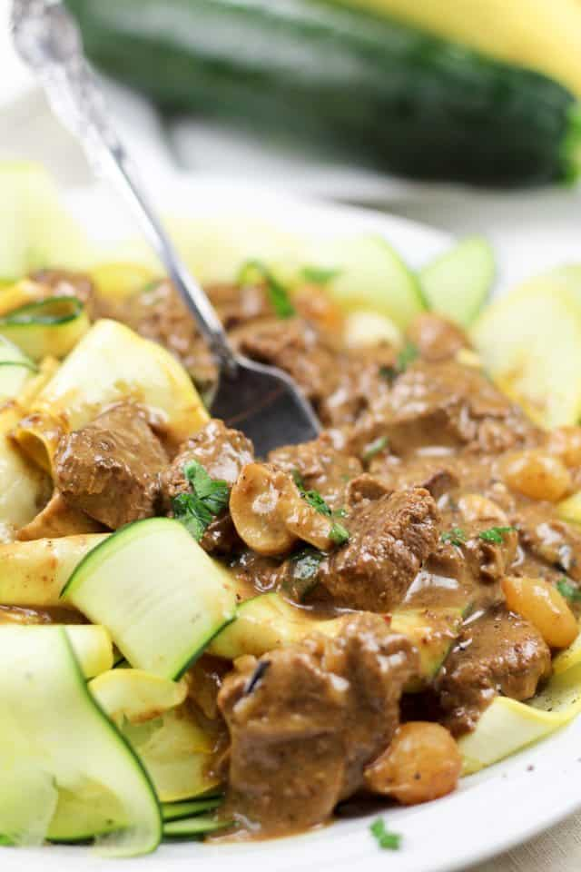 Lean Beef Stroganoff on Zucchini Ribbons | by Sonia! The Healthy Foodie