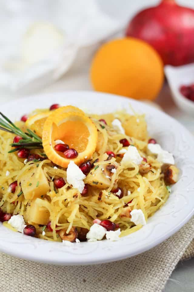 Spaghetti Squash Pomegranate & Goat Cheese Salad | by Sonia! The Healthy Foodie