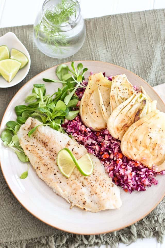 White fish fillet with braised fennel and healthy coleslaw for Healthiest fish list