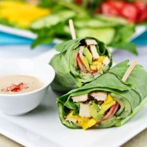Collard Wraps & Satay Style Dipping Sauce